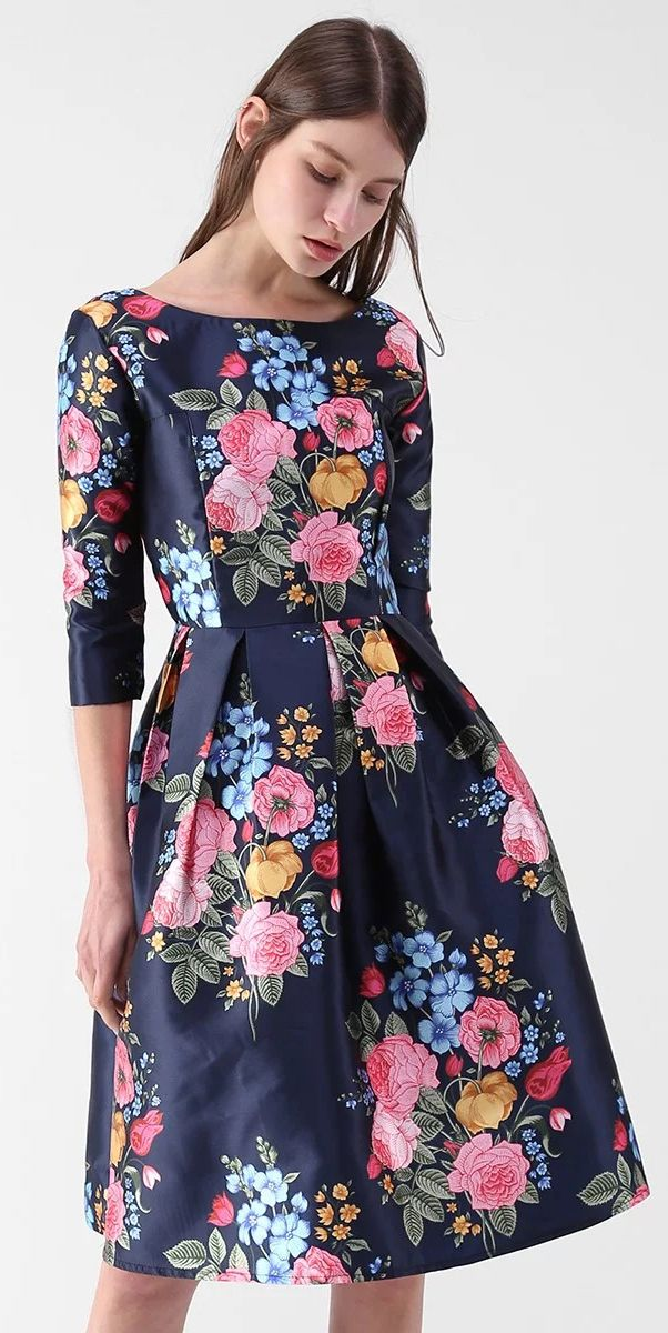 Compelling Bouquet Printed Midi Dress - New Arrivals - Retro, Indie and Unique Fashion