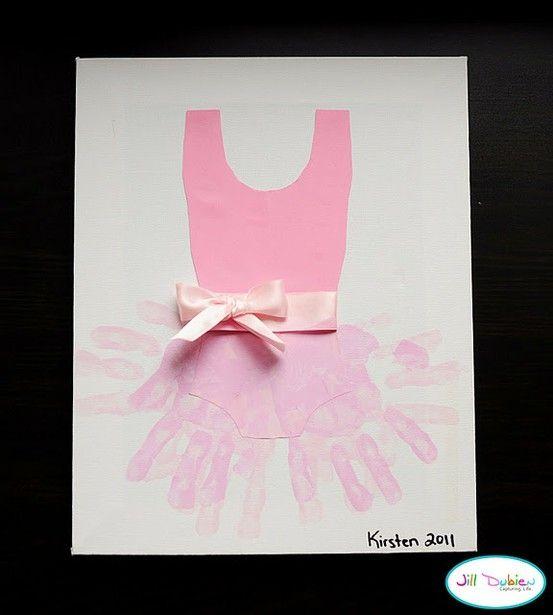 I am so going to make this. Ballerina handprint art.