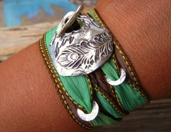 Bohemian Jewelry, Silk Wrap Bracelet, Bohemian Style Fashion, Peacock Feather Jewelry, Hand Dyed Silk Ribbon Bracelet in Green n Brown