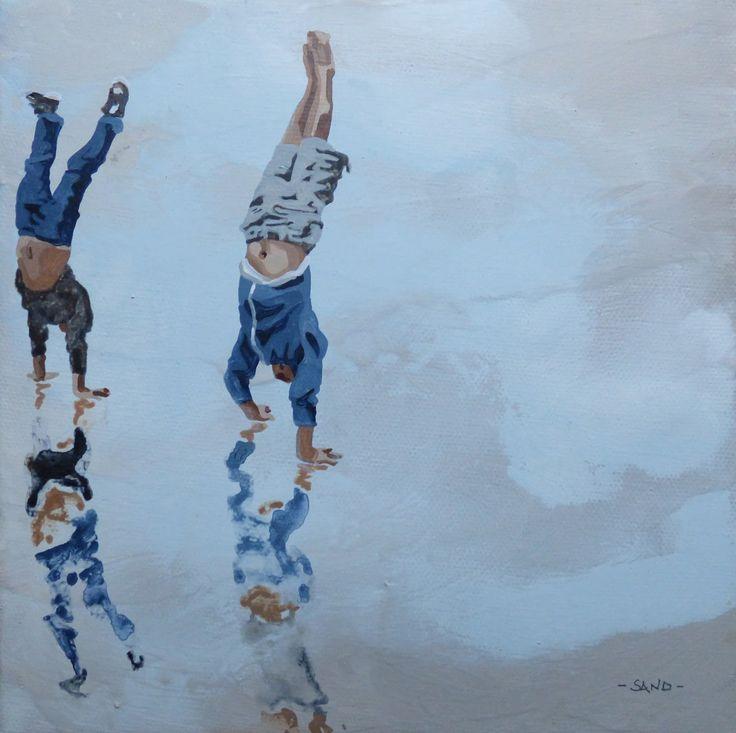 Peinture acrylique sur toile,   Paimboeuf, novembre 2016,   20x20 cm.