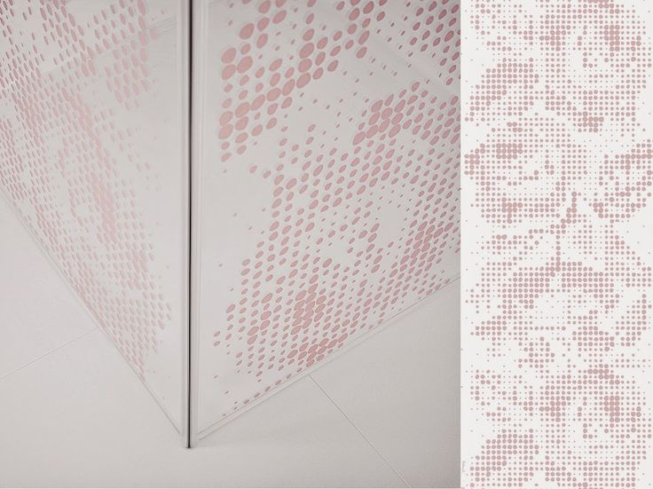 Broderie; Shower glass with a giant rose border in powder pink by swedish design duo Butler/Lindgård on behalf of INR.