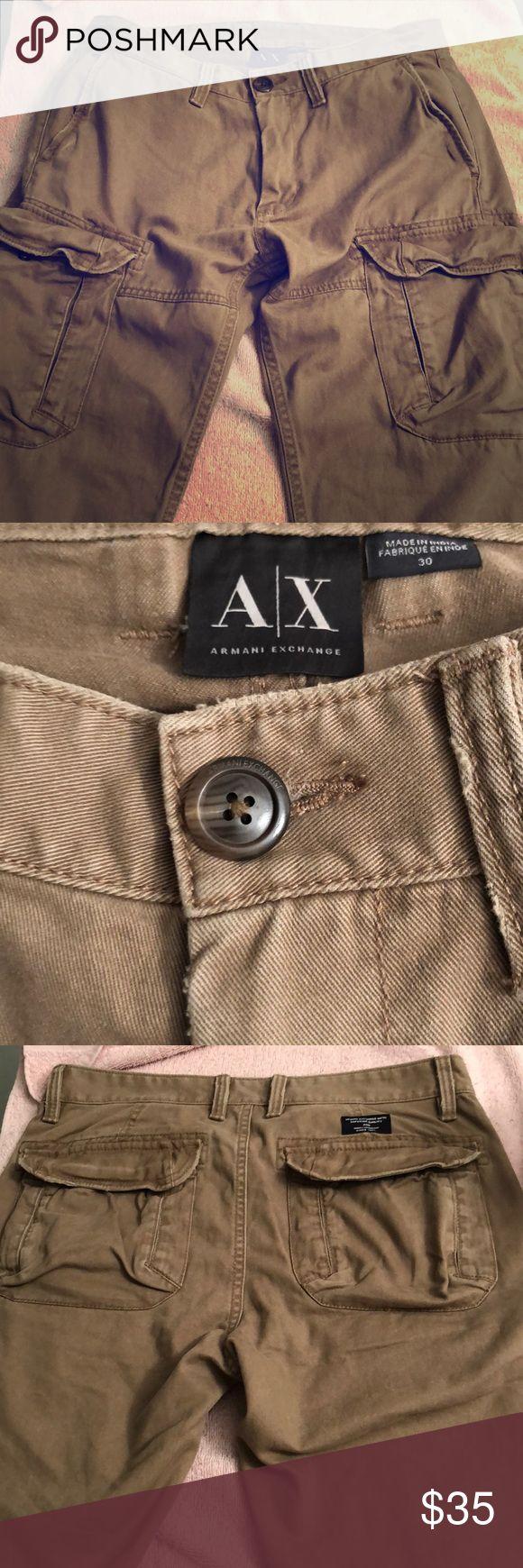 Men's dark beige cargo pants by Armani Exchange Gently worn dark beige Armani Exchange cargo pants. Size 30.  Great condition Armani Exchange Pants Cargo