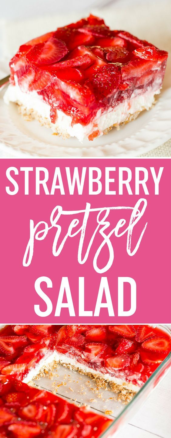 Strawberry Pretzel Salad - A taste of nostalgia! This dessert has a pretzel crust, cream cheese filling, and fresh strawberries in Jello on top. A summer classic! via @browneyedbaker