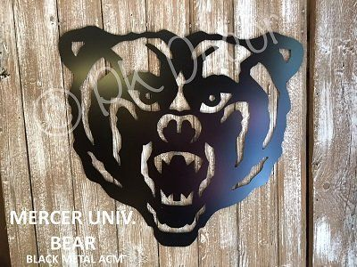 Mercer University Bear Door Hanger - Metal Mercer Sign - Metal Mercer Bear Decor - Mercer Garden Flag - METAL ACM