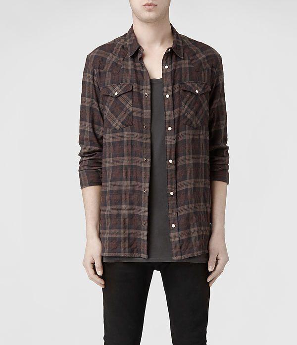 Mens Plains Shirt (Fawn/Oxblood) | ALLSAINTS.com