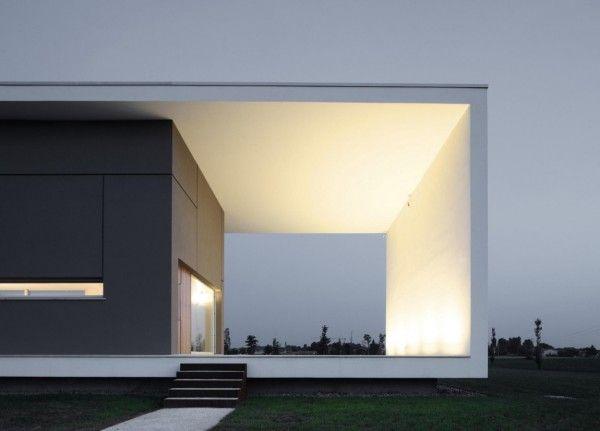 Evening View Cut Out from Modern Monolithic House Design in Castelnovo Sotto Reggio Emilia Italy 600x431 Modern Monolithic House Design in Castelnovo Sotto, Reggio Emilia, Italy