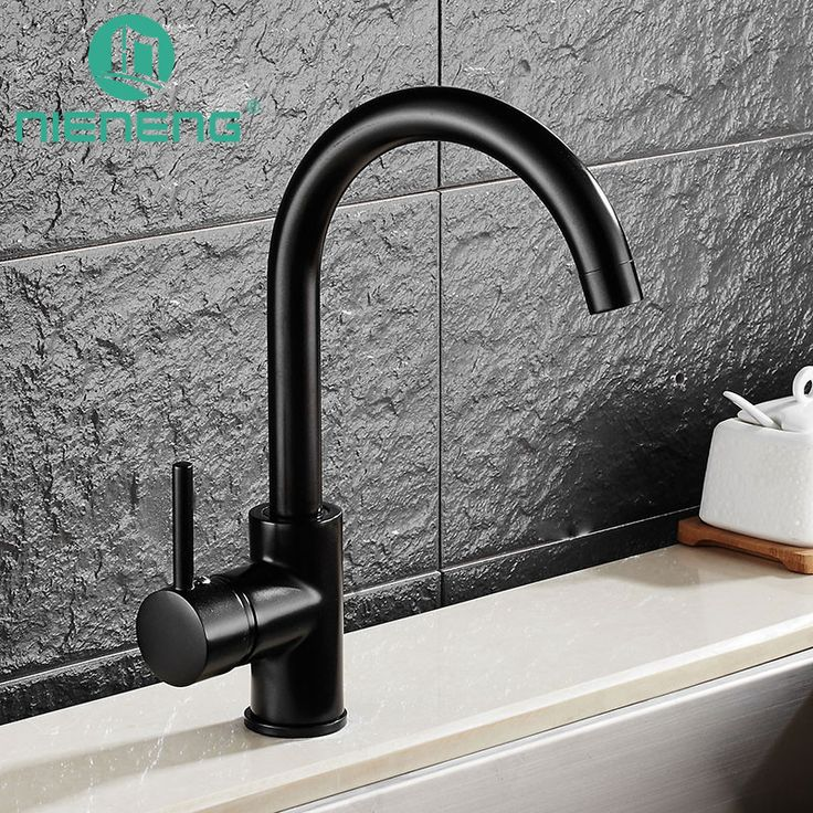 Nieneng Kitchen Sink Black Water Faucet 360 Degree Rotating Faucets Deck Mounted Kitchen Mixer Taps Griferia Lanos Tap ICD60369