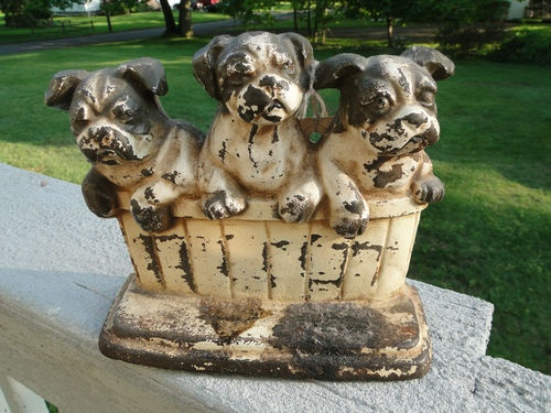 Vintage Three Puppies in a Tub Cast Iron Door Stop - John Wright Cast in USA - 339 Best Antique Dogs Images On Pinterest Irons, Antique Jewelry