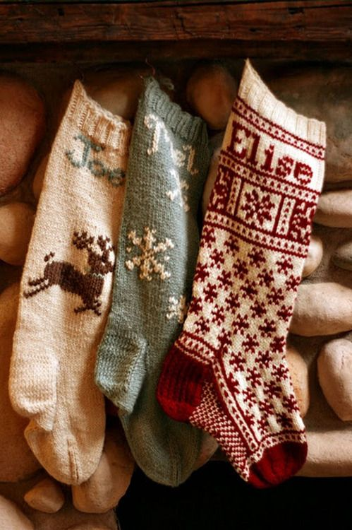 Hand knit Christmas stockings. [Photo via French Press Knits]