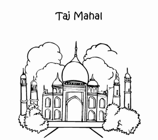 Taj Mahal Coloring Page Beautiful Taj Mahal Drawing At Getdrawings