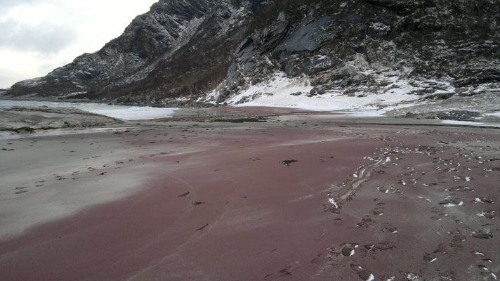Red Beach at Mjelle | Atlas Obscura