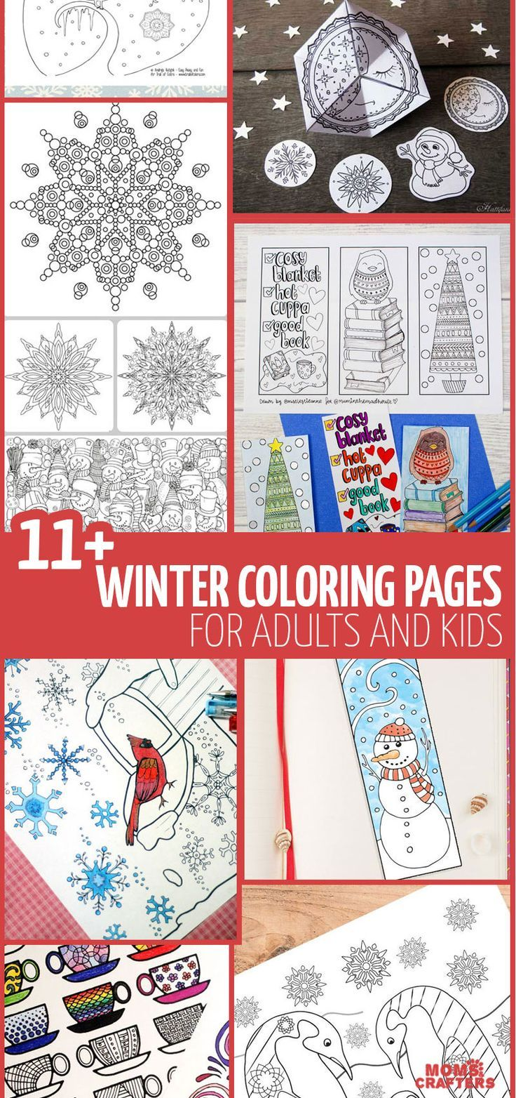 Grab these free printable winter coloring pages for adults for lots of adult colouring pages