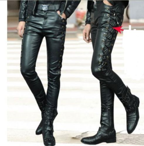 6f42fb4cc713 HOT Mens Side Lace Up Motorcycle Biker Rider Vegan Faux Leather kinny Long  Pants
