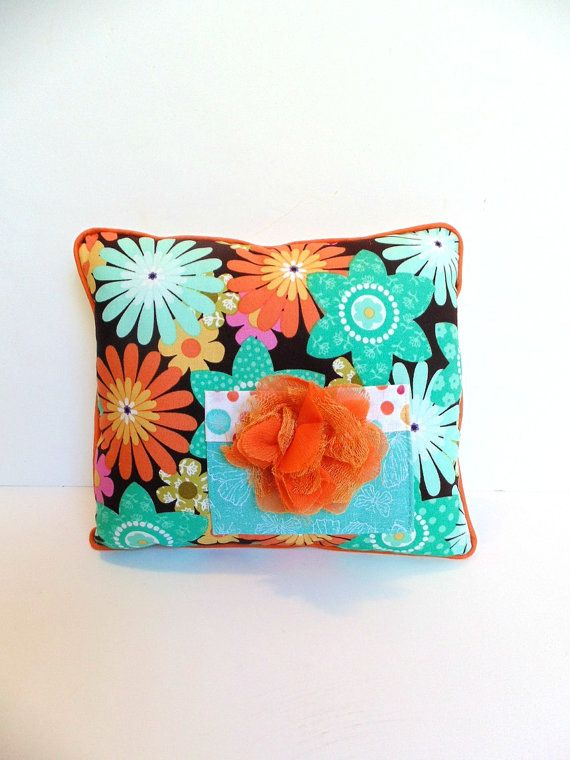 Turquoise and Orange Tooth Fairy Pillow, iPod holder, Accent pillow , Doll  Pillow
