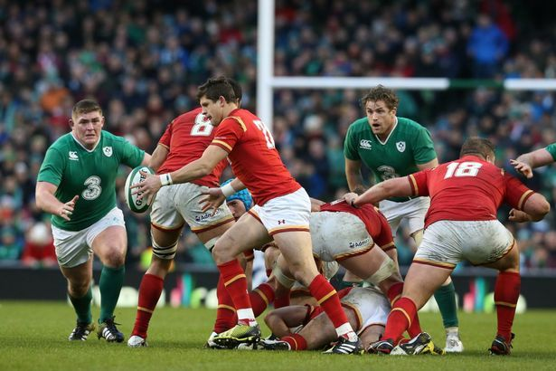 Lloyd Williams takes a box-kick in the 16-16 draw with Ireland in the 2016 six nations
