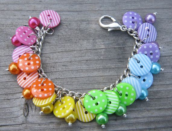 Bright rainbow button bracelet spots stripes by GoddessJewelsUK, $19.75