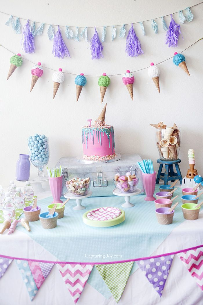 Kids Ice Cream Birthday Party. Party Table DecorationsParty ...