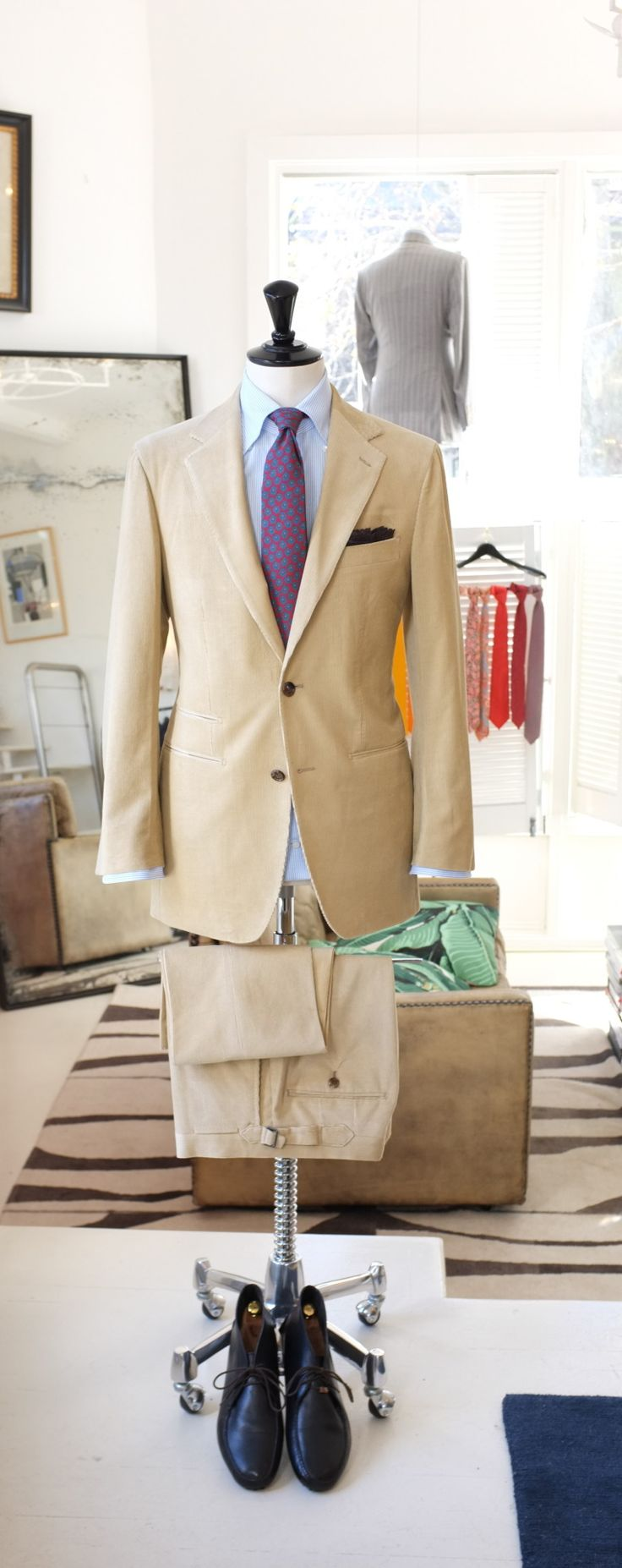 """patrickjohnsontailors: """"PJ Sydney Suit : Cotton/ Cashmere Cord from Loro Piana Shirt : PJ 'off the rack' 170's cotton linen blend from DJ Anderson - Button down collar with roll Tie : Drake's for..."""