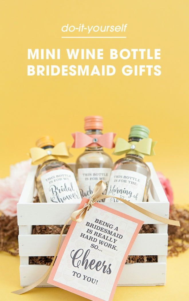 118 best bridal party gifts images on pinterest bridal parties the most adorable diy mini wine bottle bridesmaid gift ever solutioingenieria Choice Image