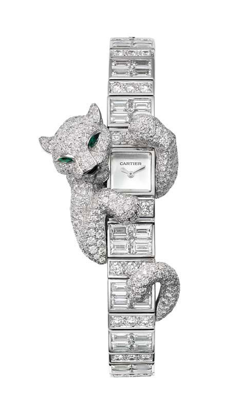 @Cartier Fabuleux Baguette Panthère watch; case and bracelet in white gold set with brilliant-cut and baguette-cut diamonds.