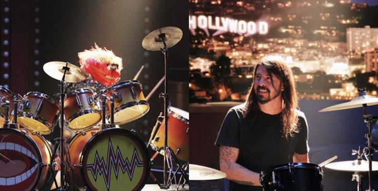Dave Grohl battles The Muppets Animal in epic drum off. I see Drums and always think of animal