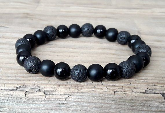 Men/'s Bracelet Red Black 12mm Energy Bracelet Jasper  Lava  Onyx Chakra Bracelet Gift Idea Men