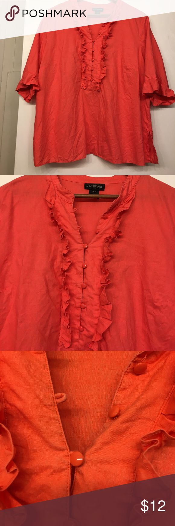 Lane Bryant coral Blouse w ruffle front & sleeves Lane Bryant coral Blouse w ruffle front & sleeve - 18/20 - 52% linen 48% cotton - small mark on front below details Lane Bryant Tops Blouses