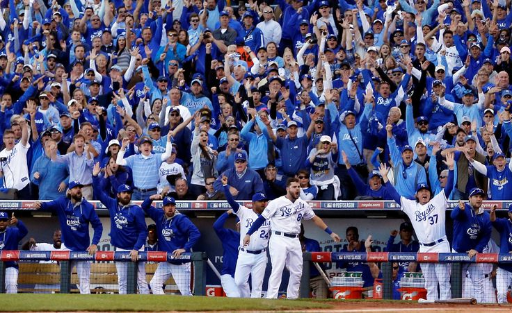 FILE - In this Oct. 15, 2014, file photo, Kansas City Royals players and fans celebrate after Alcide... - AP Photo/Matt Slocum, File