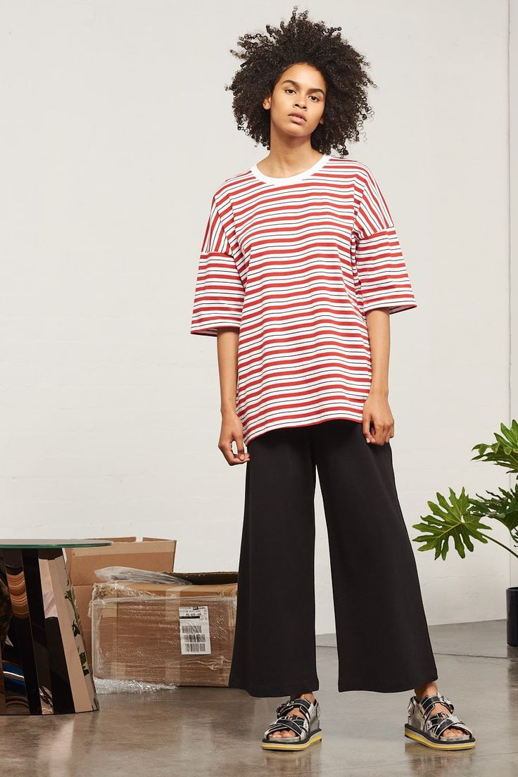 Building Block Tall Tee, Red Stripe