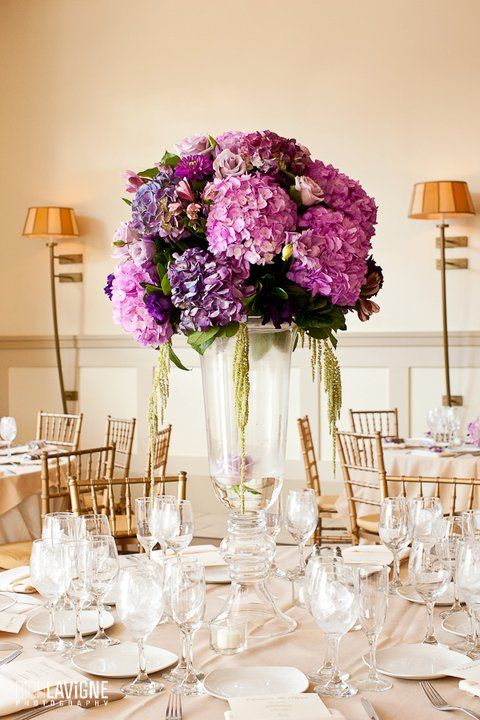 purple hydrangea centerpieces - Google Search