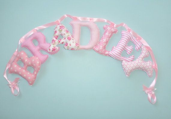 Shabby Chic PINK Fabric letter name banner by LittleFairyCottage