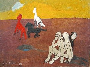 Turkulaisen surrealistin Otto Mäkilän teoksissa hevonen herättää olemassaolon isoja kysymyksiä ja on runon, unen ja ylitodellisen salaperäinen eläin. Otto Mäkilä: Caput Mortuum, 1947, öljy
