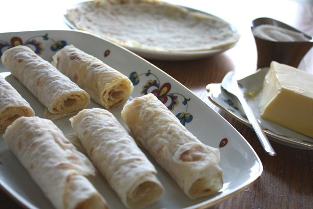 Lefse! Easily described as a potato tortilla, usually made at Christmas time. Although it is work to make the finished product is so amazing that you won't mind. Amazing with leftovers wrapped in it, or with butter and sugar.