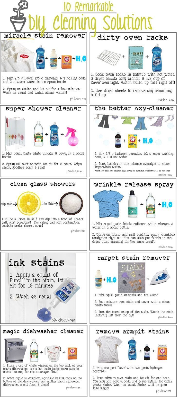 Make all purpose cleaners by pouring with equal parts into a spray bottle  Clean dirt off your computer and mouse with a little vinegar and a q tip  Clean your drains with vinegar and baking soda  Wipe away mildew  Clean and polish chrome and stainless steel  Use as a fruit wash-rinses away germs  Erase ballpoint-pen marks  Erase crayon marks from clothes  Remove stickers and price tags  Disinfect cutting boards  Restore wood paneling  Remove carpet stains  Keep car windows frost free…