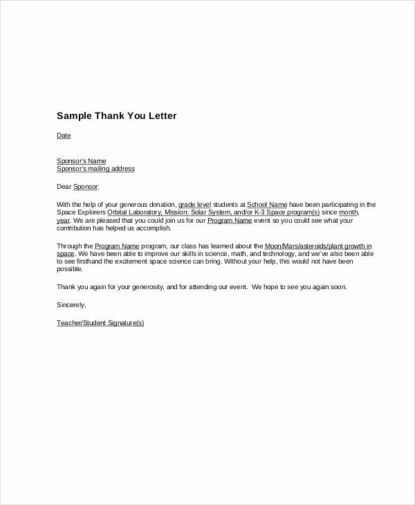 Free Thank You Letters Lovely 10 Sample Sponsorship Thank You Letter Free Sample Thank You Letter Examples Thank You Letter Template Thank You Letter