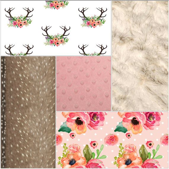 Baby Girl Crib Bedding  Floral Antlers Deer by DesignsbyChristyS