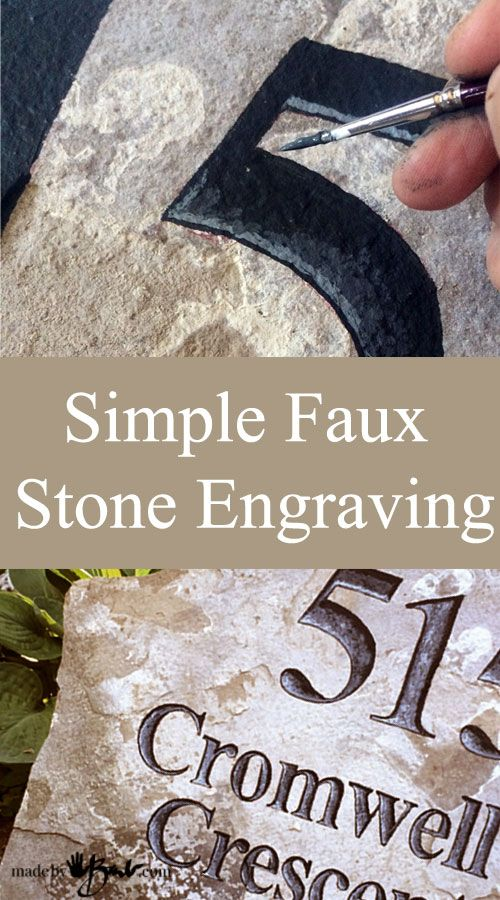 DIY Simple Faux Stone Engraving using paint | Instructions how to paint Letters and numbers that look chiseled in rock for address or name