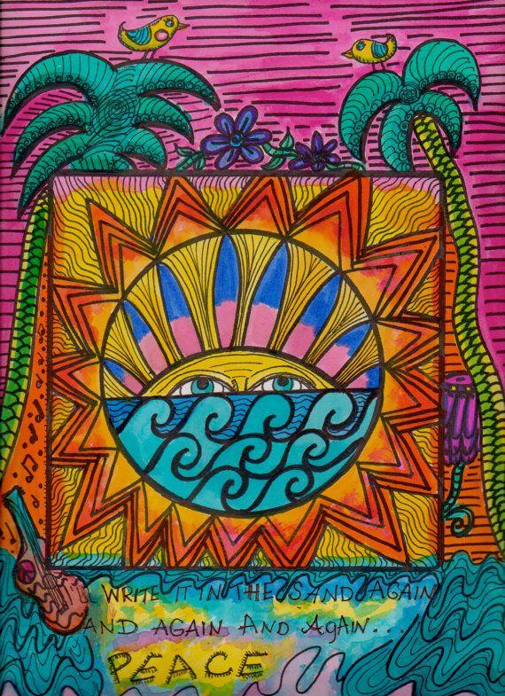 Again Peace Mandala Hippie Art Original by DawnCollinsArt on Etsy, $25.00