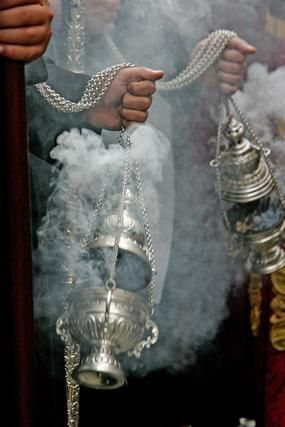 Incense...I love going to the Greek Orthodox Church with my Greek friends because of the Old World Rituals,,,which includes Cleansing the Church with Incense....Love, Love, Love