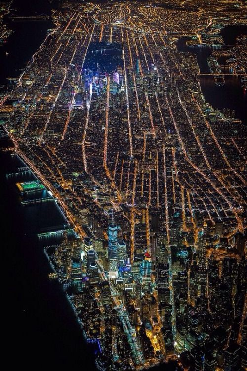 New York City - light pollution at night from above. Not hard to figure out where Central Park is, is it?! #nyc