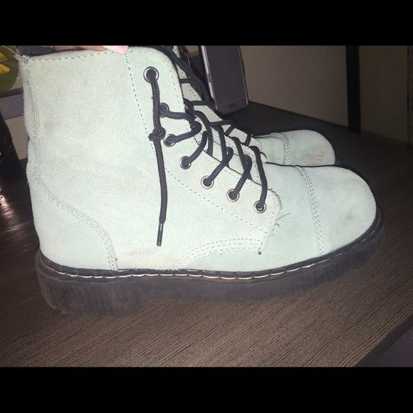 Tiffany Blue TUK Boots - Suede Anarchic Boots Short boot, super comfortable. 7 eye lace up, black rubber soles; Classic type of combat boot. T.U.K Shoes Combat & Moto Boots