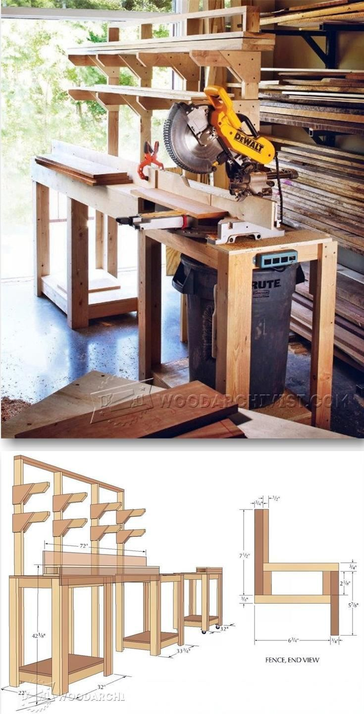 Build Miter Saw Stand - Miter Saw Tips, Jigs and Fixtures | WoodArchivist.com #WoodworkingTools