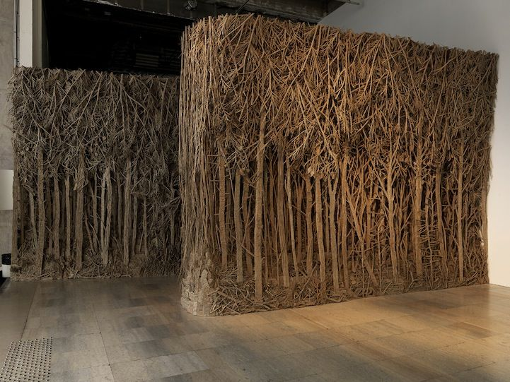 In an interesting juxtaposition, sculptor Eva Jospin creates enchanting forests from cardboard. The Paris-based artist cuts and gules cardboard to craft dense, multi-layered and highly detailed forests with stunning depth of field. Gazing into the trees can nearly make a viewer fear getting lost in the woods. The cardboard's corrugated edges form a convincing texture …