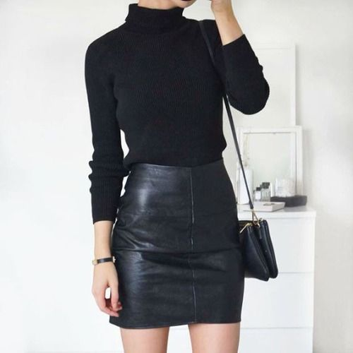 Long Sleeve T-shirt Black Elastic Bodycon PU Leather Skirt