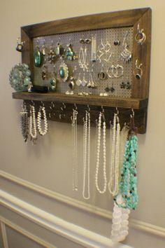 Amazing Ash Stained Wall Mounted Jewelry Organizer, Wall Organizer, Jewelryâ?¦