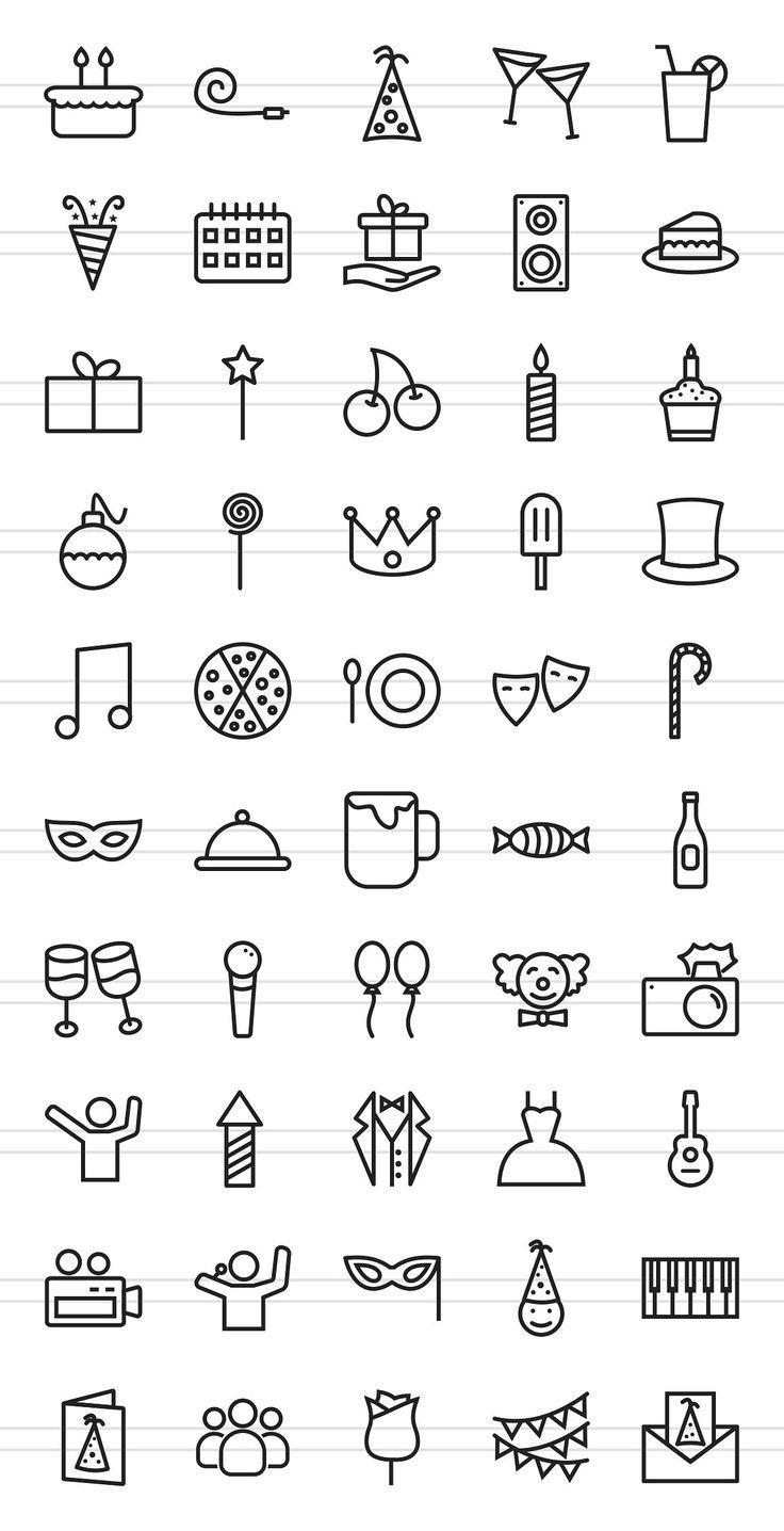 50 Birthday Line Icons – Icons – 2 – #Birthday #ic…