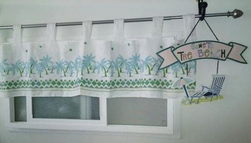 Tropical Window Treatment, Cute Palm Tree design in Turquoise on a white linen, with geometric border design in bright green.. you can instantly give any room an uplift with our beachy  valance