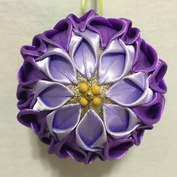 Paarse bloem Ornament, paars gevouwen stof Ornament, paarse gewatteerde Ornament, paarse chrysant, paarse Holiday Ornament