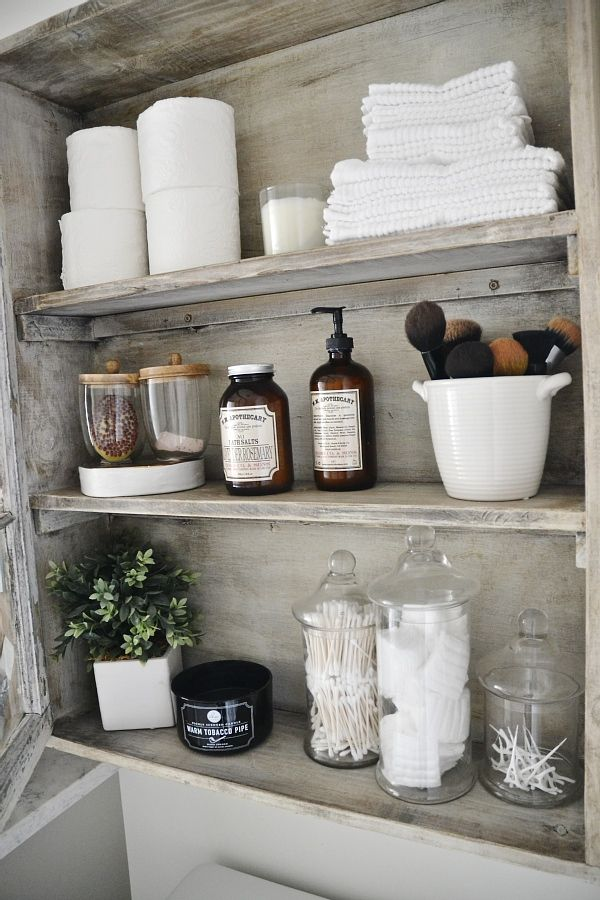 25 best ideas about bathroom shelves on pinterest half for Bathroom cabinet makeover ideas