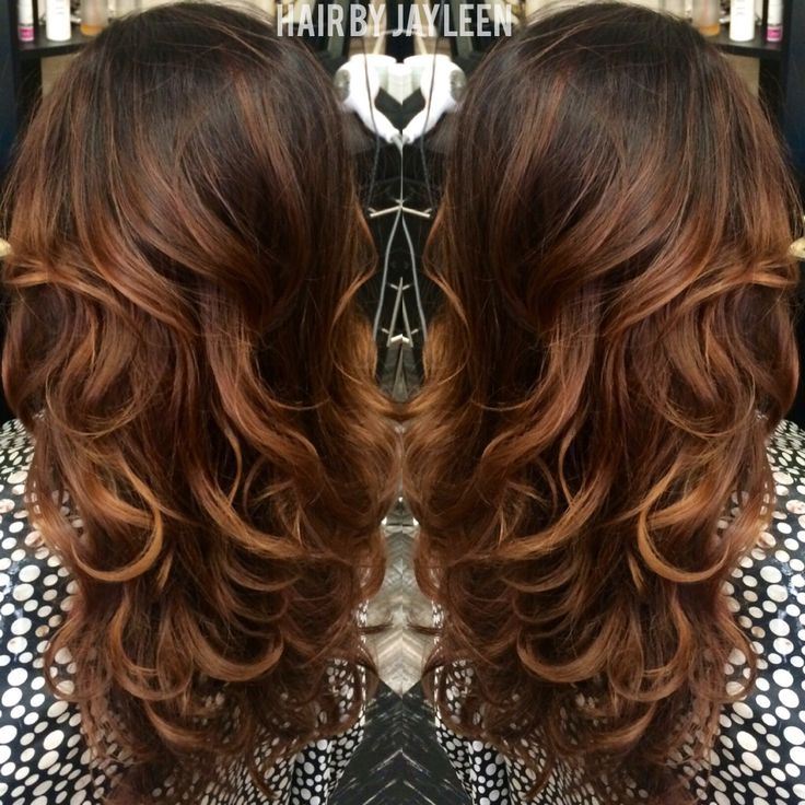 Copper Balayage Warm Brunette Hair Curly Balayage Hair